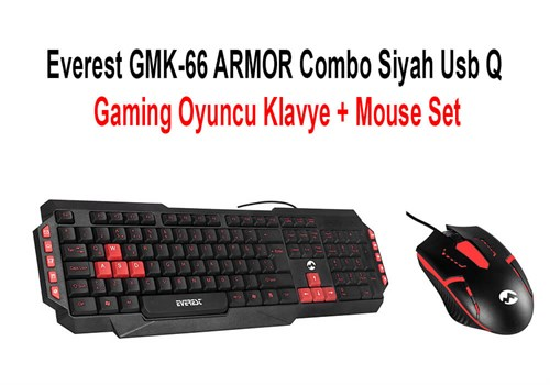 Everest GMK-66 Armor Combo Siyah USB Q Gaming Oyuncu Klavye + Mouse Set