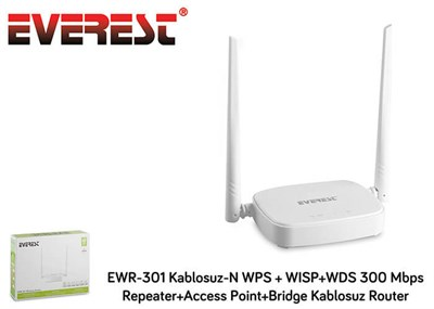 Everest EWR-301 Wifi-N WPS+WISP+WDS 300Mbps Repeater+Acc. Point+Bridge Wifi Router