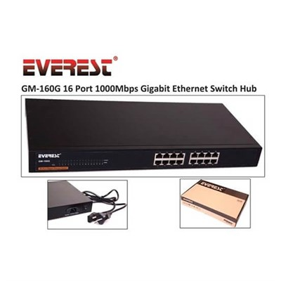 Everest GM-160G 16 Port 1000Mbps Gigabit Ethernet Switch Hub